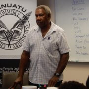 Owner of Belair Airways Vanuatu Ltd. talking to participants in the workshop