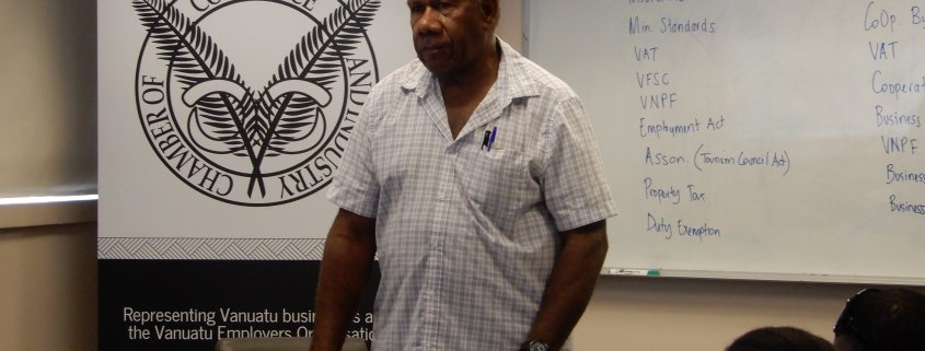 Owner of Belair Airways Vanuatu Ltd. talking to participants in the workshop
